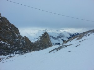 The top of the ski route, which was pressed against a huge rock face.