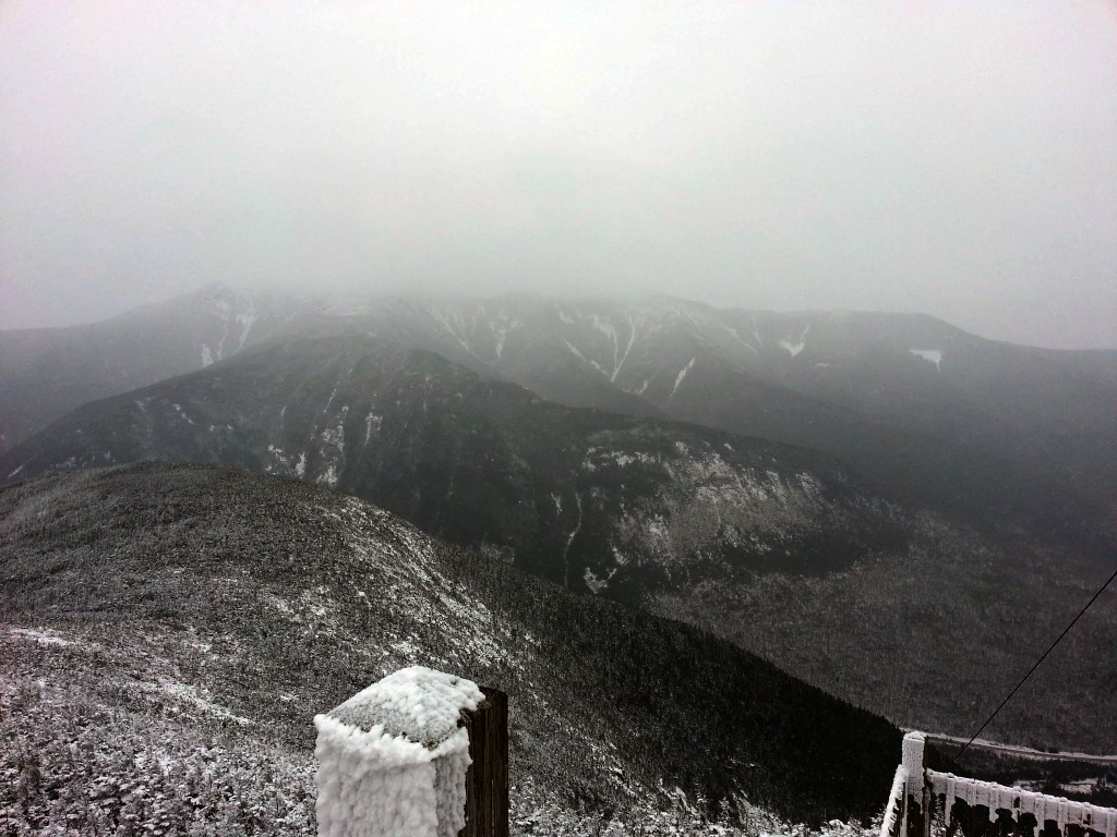 Attempting to scope out the slides across the ridge as the fog rolled in.